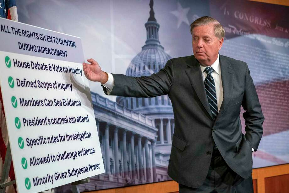 A reader reflects on Sen. Lindsey Graham's changing views of  impeachment. Photo: J. Scott Applewhite /Associated Press / Copyright 2019 The Associated Press. All rights reserved.