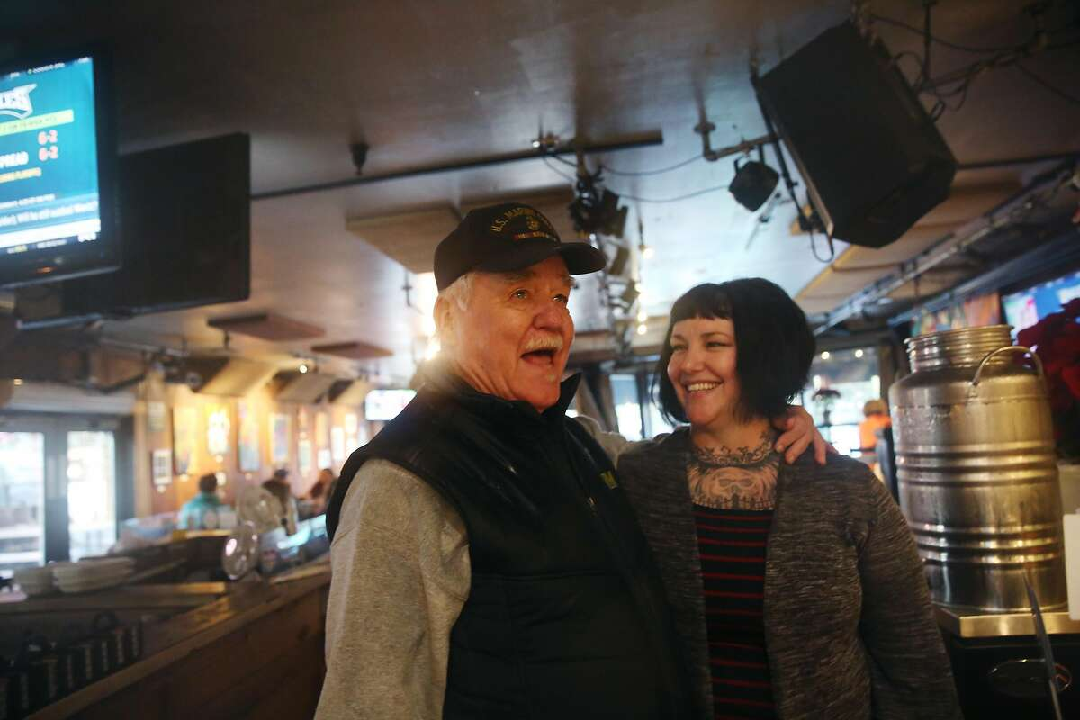 Bruce Voorhees (l to r) talks with Jolee Fernandez, Redwood Cafe staff, as he stops in to visit on Wednesday, December 18, 2019 in Cotati, Calif.