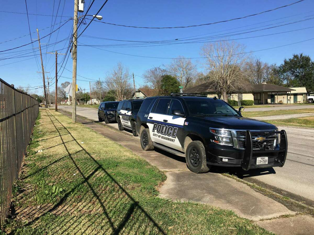 Police investigate the scene of a reported drive-by shooting on 4300 Pradice in Beaumont Wednesday. Photo provided by Eric Williams