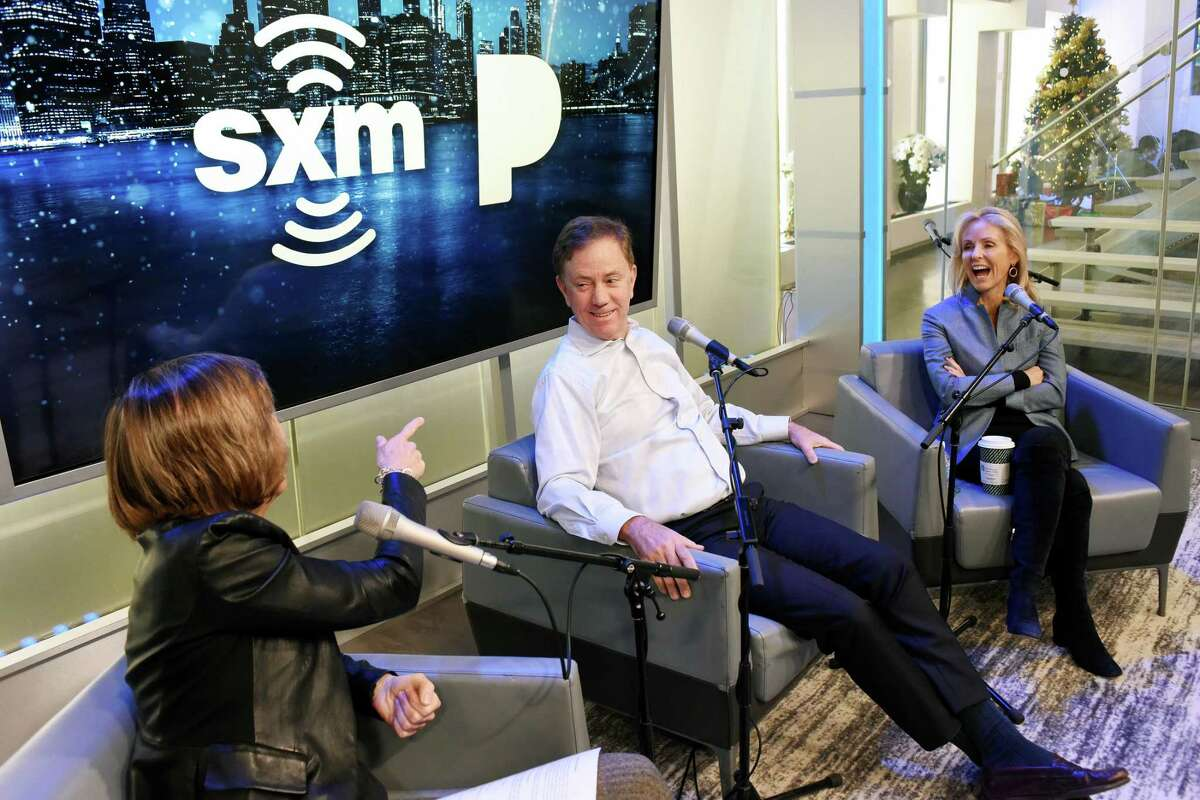 Pattie Sellers, Connecticut Gov. Ned Lamont and Anne Lamont speak during SiriusXM Business Radio's