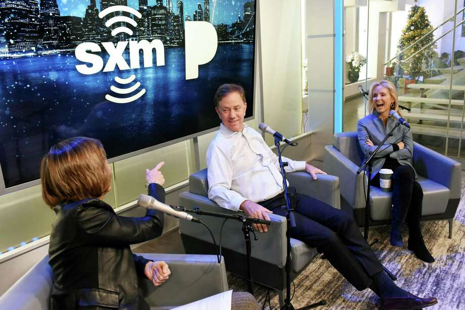 """Pattie Sellers, Connecticut Gov. Ned Lamont and Anne Lamont speak during SiriusXM Business Radio's """"Making A Leader"""" Series at SiriusXM Studios on Dec. 20, 2019 in New York City. Photo: Bonnie Biess / Getty Images For SiriusXM / 2019 Getty Images"""