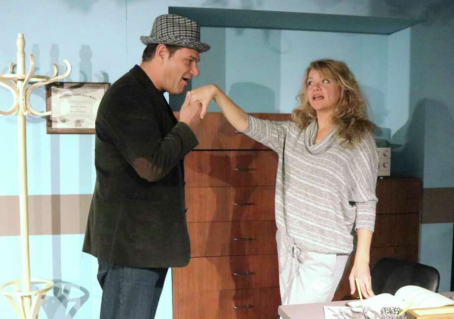 "Curtain Call's ""Cactus Flower"" is onstage at the Dressing Room Theatre in Stamford, Jan. 9 - 26. Seen here in rehearsal, Señor Arturo Sanchez (Greg Ellis), is just one player of many embroiled in a plot to help bring love to Stephanie Dickinson (Gillian Holt). Photo: Lou Ursone / Contributed Photo"