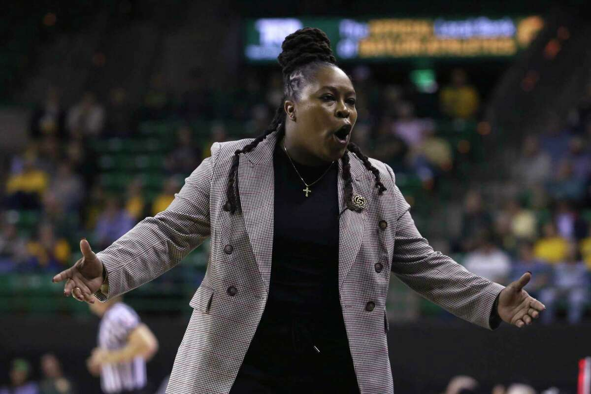 Lamar head coach Aqua Franklin talks to her bench in the first half of an NCAA college basketball game against Baylor, Thursday, Nov. 21, 2019, in Waco, Texas. (AP Photo/Jerry Larson)
