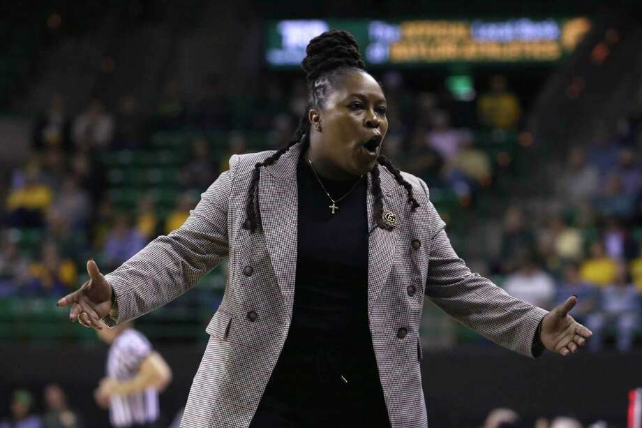 Lamar head coach Aqua Franklin talks to her bench in the first half of an NCAA college basketball game against Baylor, Thursday, Nov. 21, 2019, in Waco, Texas. (AP Photo/Jerry Larson) Photo: Jerry Larson, FRE / Associated Press / Copyright 2019 The Associated Press. All rights reserved