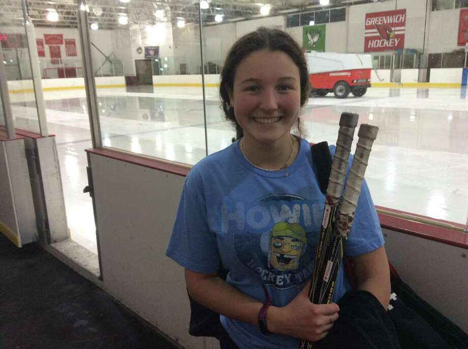 Emma Wingrove recorded a hat trick to lead the Greenwich High girls ice hockey team to a 7-3 win over Stamford-Staples-Westhill on Friday, December 20, 2019, at Dorothy Hamill Skating Rink in Greenwich. Photo: David Fierro /Hearst Connecticut Media
