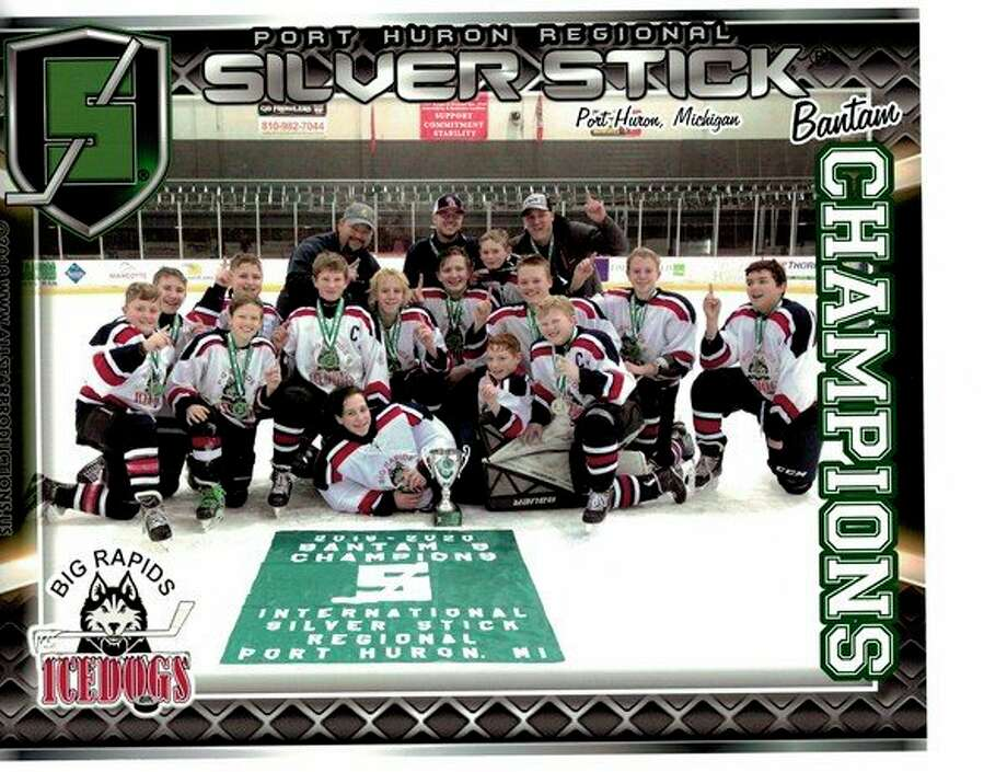 Big Rapids Ice Dogs :Coach Leyder, Coach Grant, Coach Blanchard, Jack Balahoski, Caleb Speese, Brogan Jones, Logan Leyder, Bobby Lilly, Charles Montgomery, Tyler Blanchard, Carter Leyder, Eli Shields, Brayden Olds, Nicholas Pischel, Ethan Voigt, Preston Younge and Brenton Cinco. (Courtesy photo)