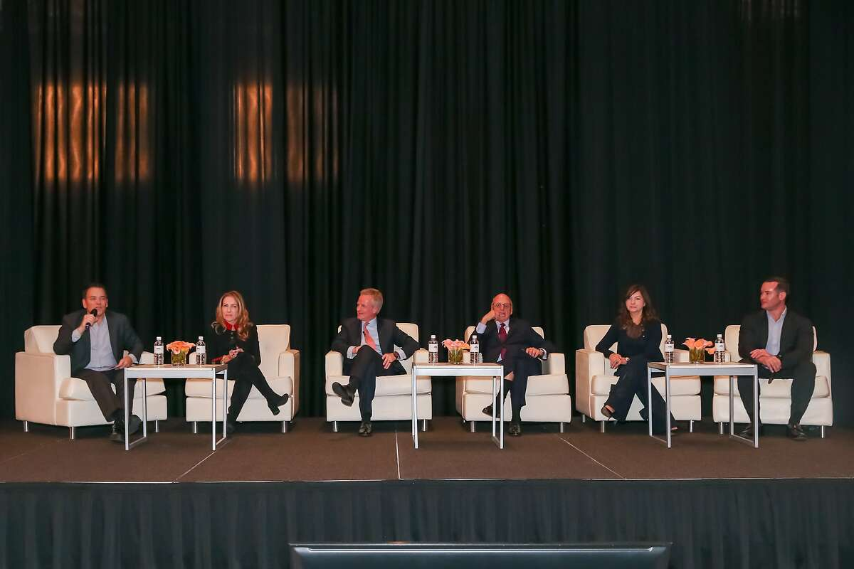 From left to right: Paddy Doing, Global Head of Prime Sales, Knight Frank; Howard Lorber, Executive Chairman, Douglas Elliman; Lauren Rottet, Founding Principal and President, Rottet Studio; and Jacob Sudhoff, CEO, Douglas Elliman Texas participate in a panel discussion at the Post Oak Hotel, November 13, 2019 in Houston, TX.