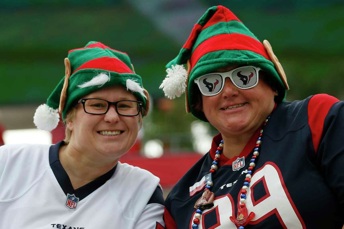 Houston Texans fans watch warm ups before an NFL football game against the Tampa Bay Buccaneers at Raymond James Stadium on Saturday, Dec. 21, 2019, in Tampa.