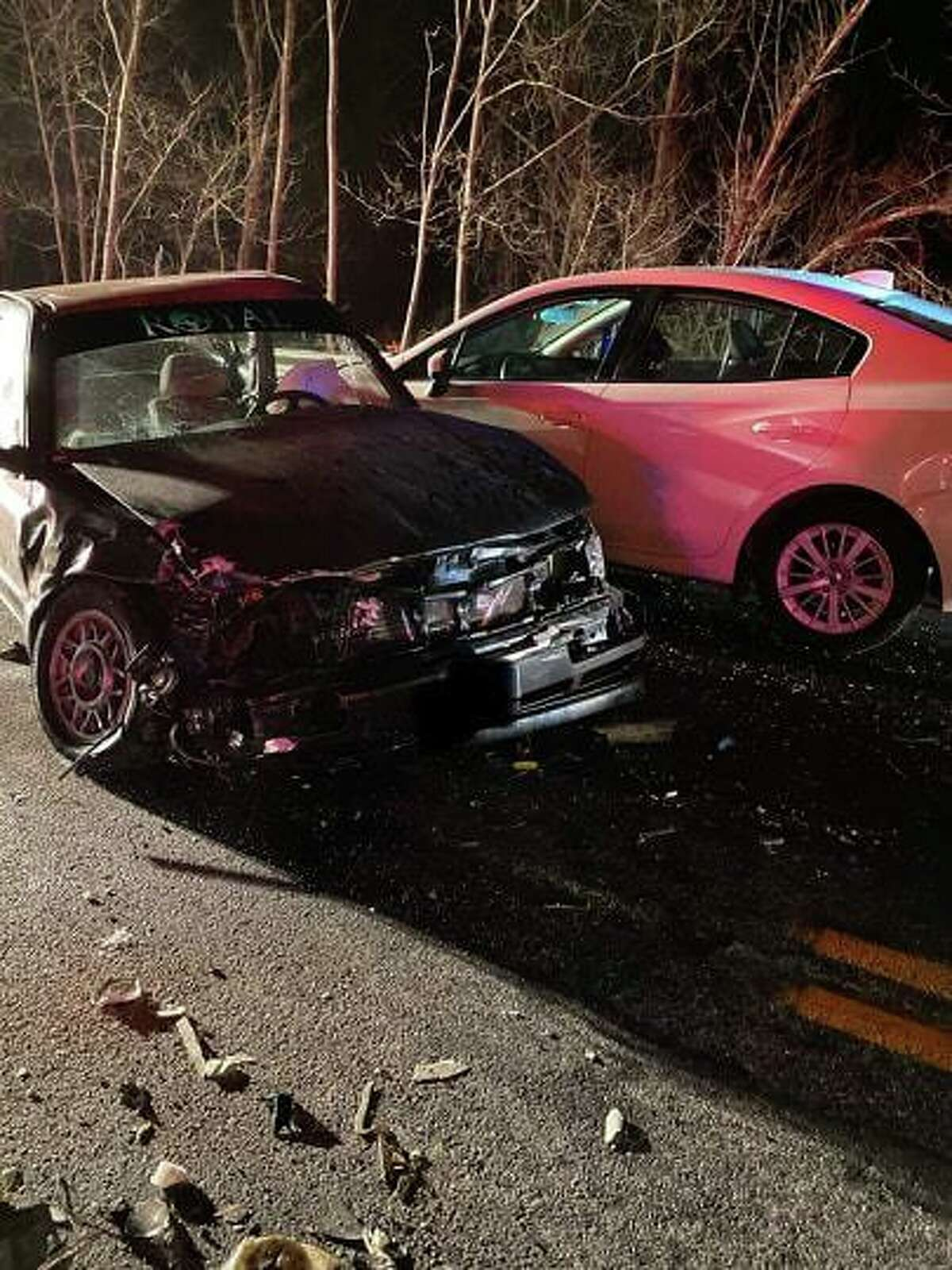 A three-car crash on Route 44 near Old North Road in Barkhamsted on Friday, Dec. 20 caused heavy delays and damage to involved vehicles. As of mid-day Dec. 21 only minor injuries had been reported.