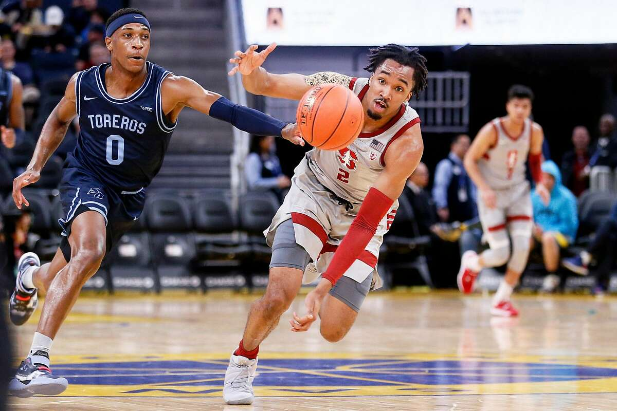 Stanford Cardinal guard Bryce Wills (2) is fouled by San Diego Toreros guard Marion Humphrey (0) in Session 1 of the Al Attles Classic at Chase Center on Saturday, Dec. 21, 2019, in San Francisco, Calif.
