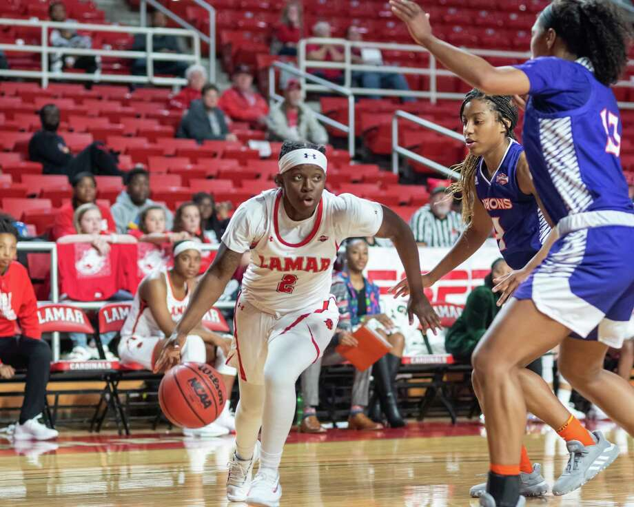 Angel Hastings (2) brings the ball around the corner in the fourth quarter as the Lady Cardinals took down the Demons of Northwestern State by a score of 61-58 on Saturday, December 21, 2019.