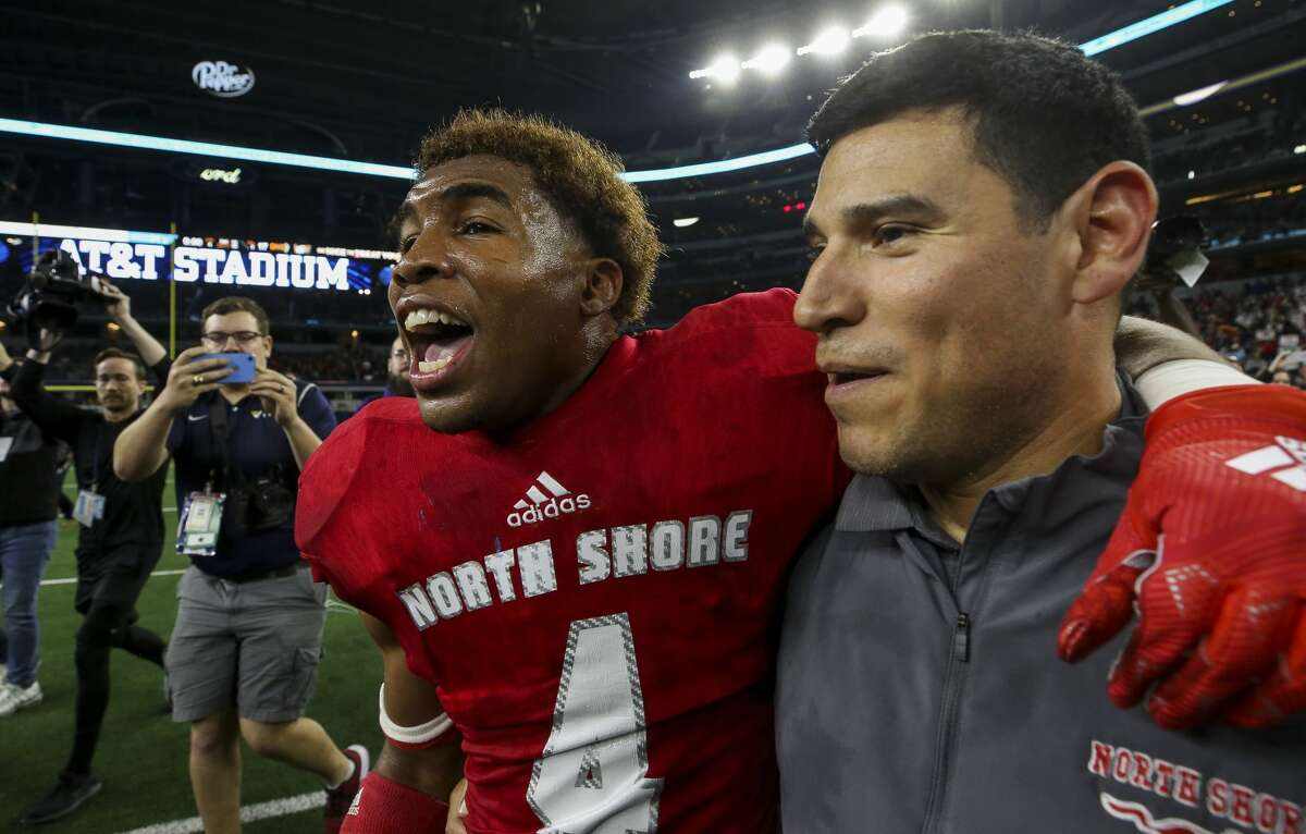 North Shore defensive back Jordan Polart (4) celebrates after defeating Duncanville 31-17 in the UIL 6A Division 1 State Championship at AT&T Stadium Saturday, Dec. 21, 2019, in Arlington, Texas.
