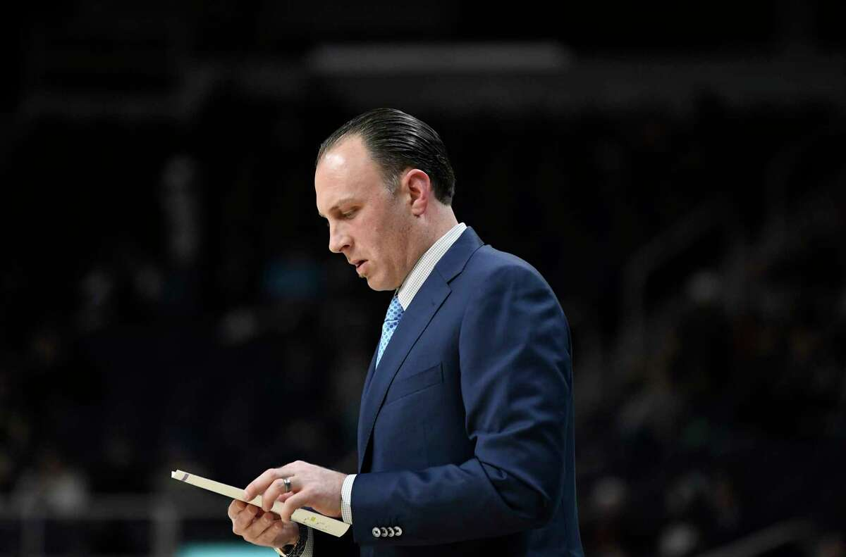 Siena head coach Carmen Maciariello during the first half of an NCAA basketball game against Bucknell Saturday, Dec. 21, 2019, in Albany, N.Y. (Hans Pennink / Special to the Times Union) ORG XMIT: 122219_siena_HP118