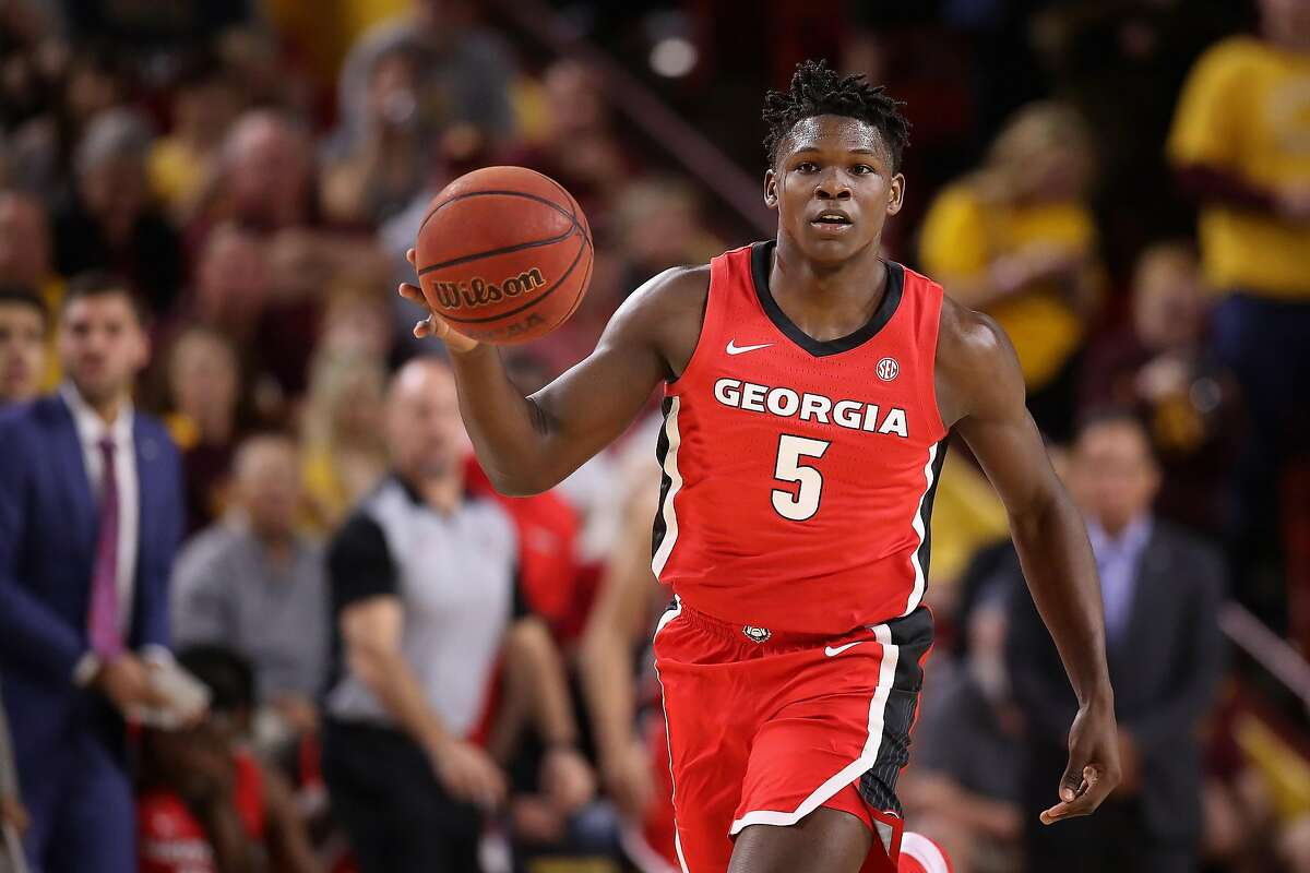 TEMPE, ARIZONA - DECEMBER 14: Anthony Edwards #5 of the Georgia Bulldogs handles the ball against the Arizona State Sun Devils during the first half of the NCAAB game at Desert Financial Arena on December 14, 2019 in Tempe, Arizona. The Sun Devils defeated the Bulldogs 79-59. (Photo by Christian Petersen/Getty Images)