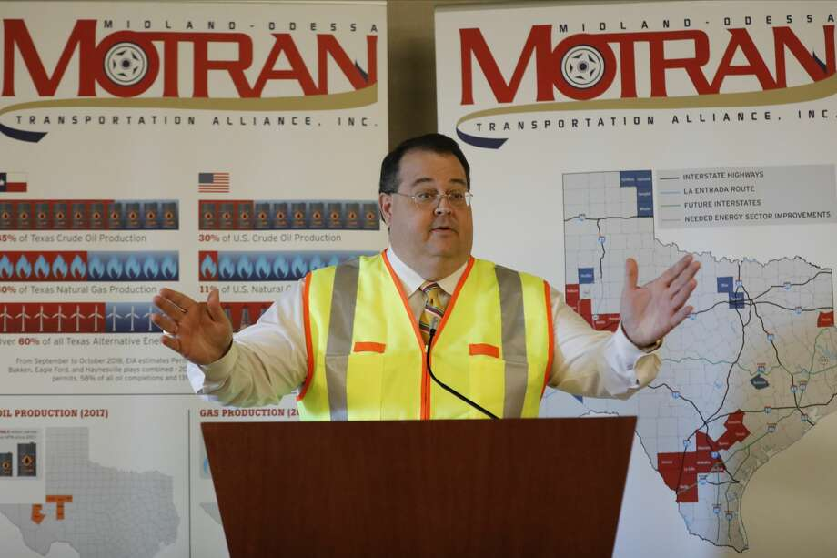 James Beauchamp, President of the Midland-Odessa Transportation Alliance, speaks during the MOTRAN annual meeting December 12, 2019 at the Odessa Marriott Hotel and Conference Center. MANDATORY CREDIT: The Oilfield Photographer, Inc. Photo: The Oilfield Photographer Inc./The Oilfield Photographer, Inc.