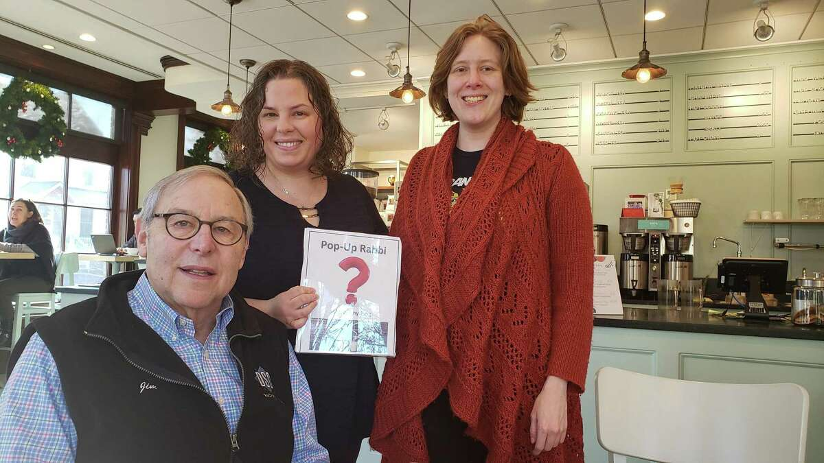 From left, Westport resident Jim Sugarman, Rabbi Ita Paskind, and Norwalk resident Nellie Cole at a recent Pop Up Rabbi coffee at Express NEAT in Darien.