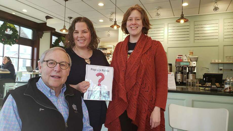 From left, Westport resident Jim Sugarman, Rabbi Ita Paskind, and Norwalk resident Nellie Cole at a recent Pop Up Rabbi coffee at Express NEAT in Darien. Photo: Sandra Diamond Fox / Hearst Connecticut Media / Connecticut Post