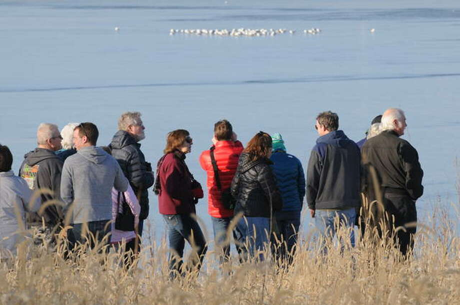 Winter Birds program participants look at waterfowl in the distance on Saturday at the Riverlands in West Alton.