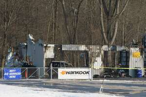 A view of the garage at Fast Lane Auto Body shop which was damaged by a fire, seen here on Sunday, Dec. 22, 2019, in Halfmoon, N.Y.  (Paul Buckowski/Times Union)