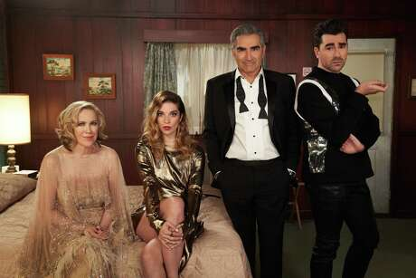 """The Rose family on Pop's hilarious comedy """"Schitt's Creek"""": Moira (Catherine O'Hara), daughter Alexis (Annie Murphy) Johnny (Eugene Levy) and son David (Dan Levy)."""