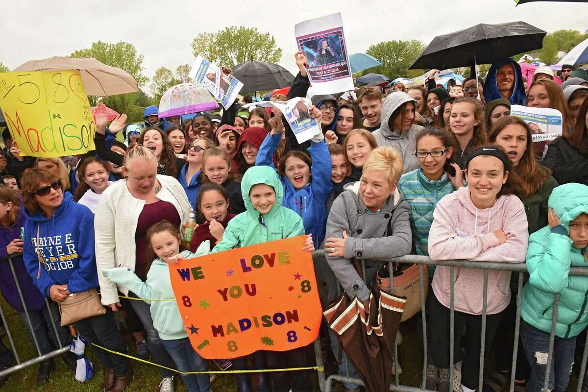 Fans of American Idol finalist Madison VanDenburg wait for her parade to show up before she gives her community a live performance at The Crossings of Colonie on Tuesday, May 14, 2019 in Colonie, N.Y. (Lori Van Buren/Times Union)