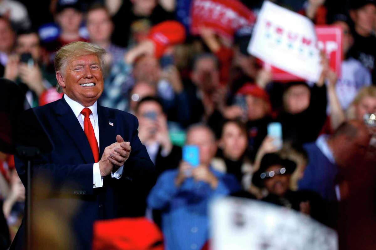 US President Donald Trump speaks during a Keep America Great Rally at Kellogg Arena December 18, 2019, in Battle Creek, Michigan. (Photo by JEFF KOWALSKY / AFP) (Photo by JEFF KOWALSKY/AFP via Getty Images)