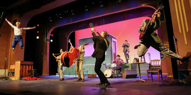 """The cast performs the Jerry Lee Lewis song """"Whole Lotta Shakin' Goin' On'"""" during a rehearsal for The Public Theater's staging of the musical """"Million Dollar Quartet"""" on Sunday, March 17, 2019. The musical portraying the impromtu jam session with Elvis Presley, Jerry Lee Lewis, Johnny Cash and Carl Perkins at Sun Records in 1956 will run Friday-Sunday, March 22 through April 14. Photo: Marvin Pfeiffer / Express-News 2019"""