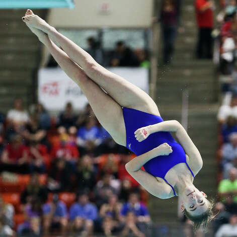 Alamo Heights' Jayne Burrhus competes in the girls 1-meter diving during the UIL Class 5A state championship at the Jamail Swimming Center at the University of Texas at Austin on Saturday, Feb. 16, 2019. Burrhus finished ninth in the event. Photo: Marvin Pfeiffer / Express-News 2019