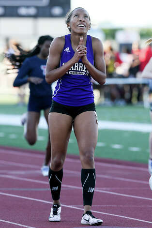 Warren's Aniyah Mance-Edwards reacts after winning the girls 400-meter dash during the District 27/28 6A area track and field meet at Rutledge Stadium on Thursday, April 18, 2019. Mance-Edwards won the event with a time of 59.04 seconds. Photo: Marvin Pfeiffer / Express-News 2019