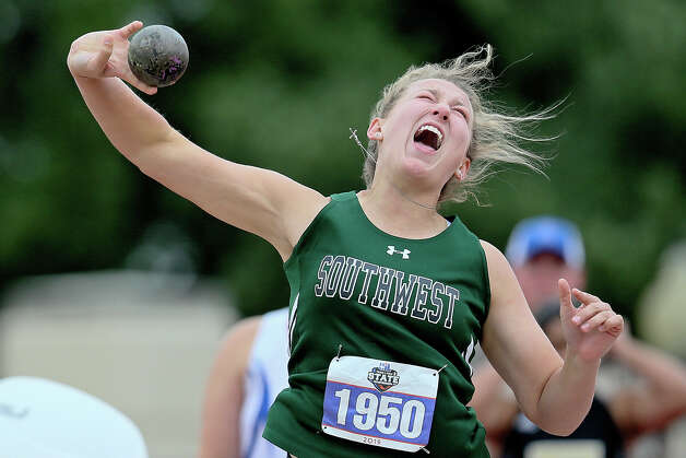 Southwest's Morgan Fey releases the shot in the 5A girls shot put during the UIL state track and field championships at Mike Myers Stadium in Austin on Friday, May 10, 2019. Fey took third place in the event with a toss of 40-05.75. Photo: Marvin Pfeiffer / Express-News 2019