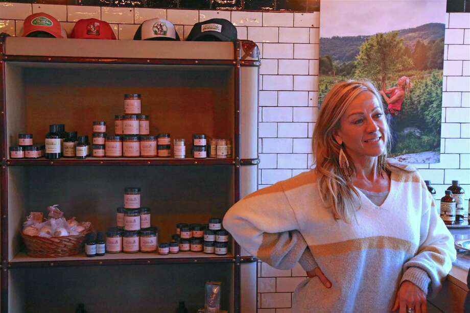 Franny Tacy, a hemp farmer and entrepreneur, at the pop-up store foreshadowing her new Westport franchise on Church Lane on Dec. 20, 2019, in Westport. Photo: Jarret Liotta / For Hearst Connecticut Media / Jarret Liotta / ©Jarret Liotta
