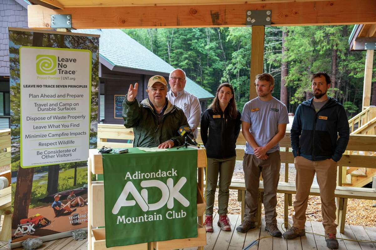 Adirondack Mountain Club Executive Director Neil Woodworth, at a hiker-education event last summer, is retiring at the end of 2019. (Mike Lynch, Adirondack Explorer)