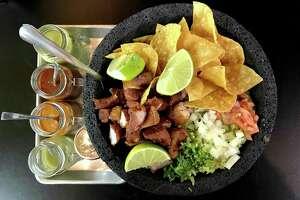 This hulking stone bowl overflowing with crispy chunks of skin-on pork cheek and guacamole splashed with four types of salsa is deeply satisfying.  2715 Hillcrest Drive, 210-994-8686, Facebook:    @LaTaqueriaDeMonterrey  .  Read La Taquería review here.