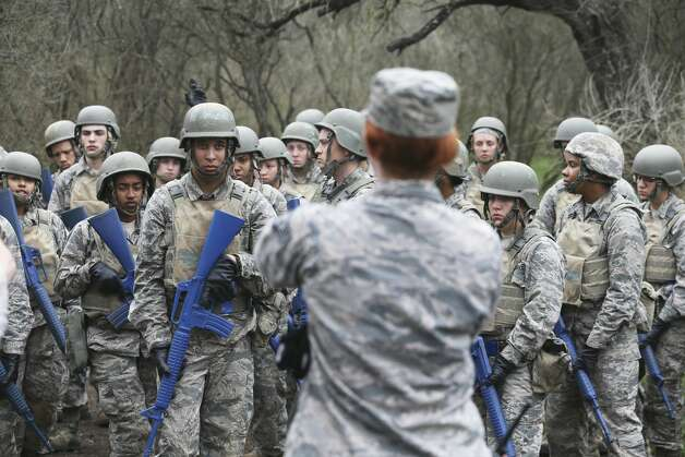Trainees listen to instructions for crossing an obstacle as Joint Base San Antonio - Lackland trainees go through the CLAW course, part of the BEAST program in their basic military training on Feb. 6, 2019. Photo: Tom Reel/Staff Photographer