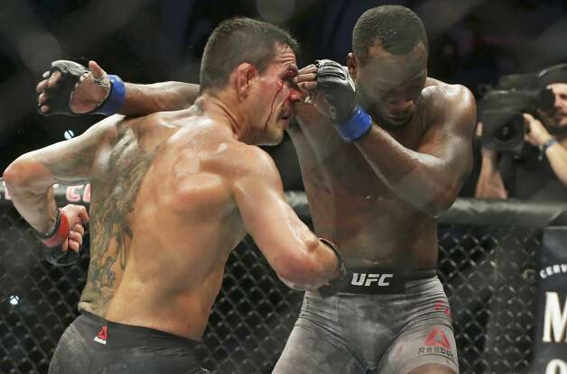 Rafael Dos Anjos is beaten by Leon Edwards in the main event during the UFC Fight Night at the AT&T Center on July 20, 2019. Photo: Tom Reel/Staff Photographer