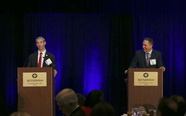 San Antonio Mayor Ron Nirenberg, left, and City Council District 6 member Greg Brockhouse answer questions during mayoral debate hosted by Visit San Antonio at the Wyndham Riverwalk, Wednesday, April 3, 2019. The election will be on May 4 with early voting on April 22 through April 30. Photo: Jerry Lara/Staff Photographer