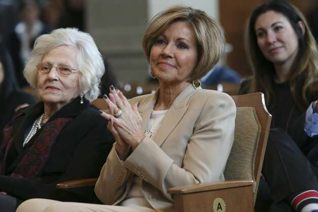 San Antonio City Manager Sheryl Sculley listens as former city council members praise her during her last city council meeting, Thursday, Feb. 21, 2019. After a 13-year tenure, Sculley will retire at the end of the month. Replacing her is Deputy City Manager Erik Walsh. On the left is her mother, Marilyn Engerski, 87. Her daughter, Courtney Sculley sits behind her. Photo: Jerry Lara/Staff Photographer