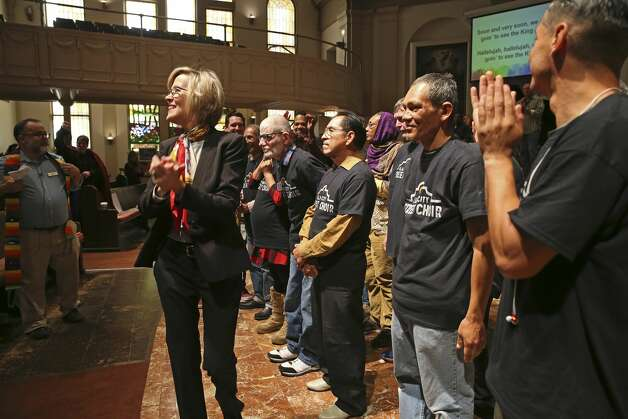 The Alamo City Street Choir performs during Sunday Service at Travis Park Methodist Church, Nov. 24, 2019. The choir is made up of homeless people. Photo: Jerry Lara/Staff Photographer