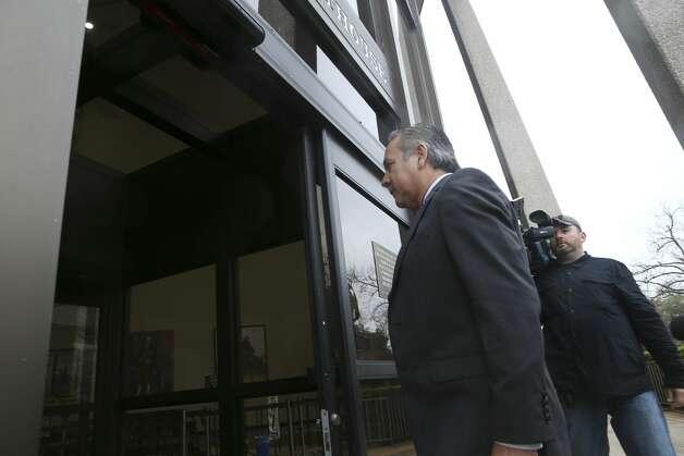 Former state Senator Carlos Uresti turns himself in at the John H. Wood, Jr. U.S. Courthouse, Tuesday, Feb. 19, 2019. Photo: Jerry Lara/Staff Photographer