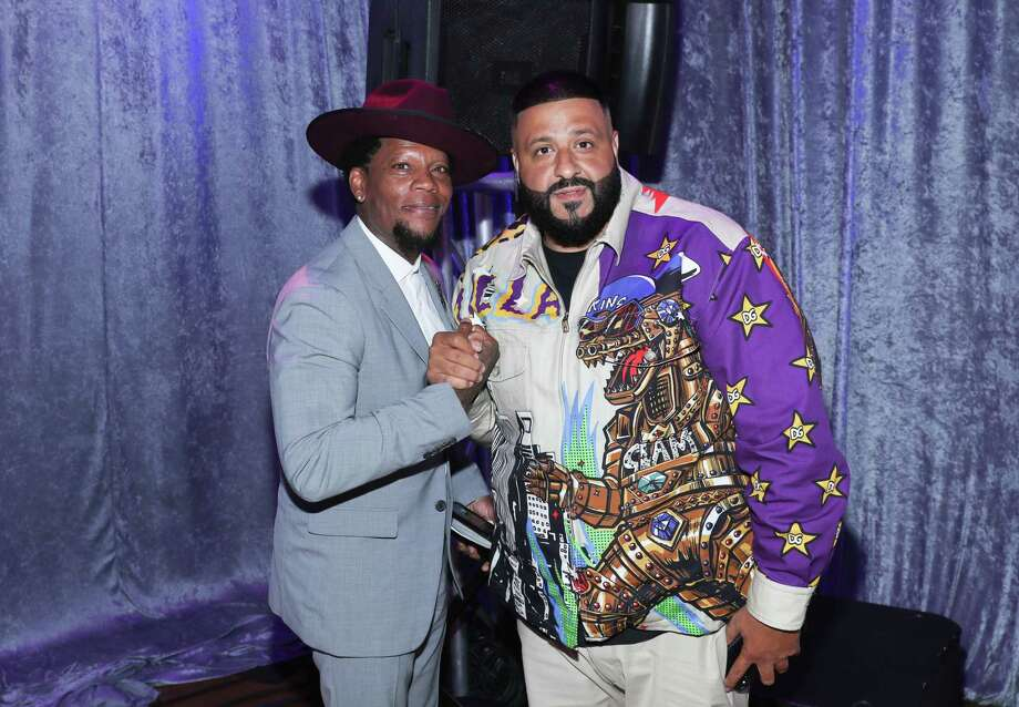 Comedian D.L. Hughley and DJ Khaled at a Los Angeles event in 2019. Photo: Bennett Raglin / Getty Images For BET / 2019 Getty Images