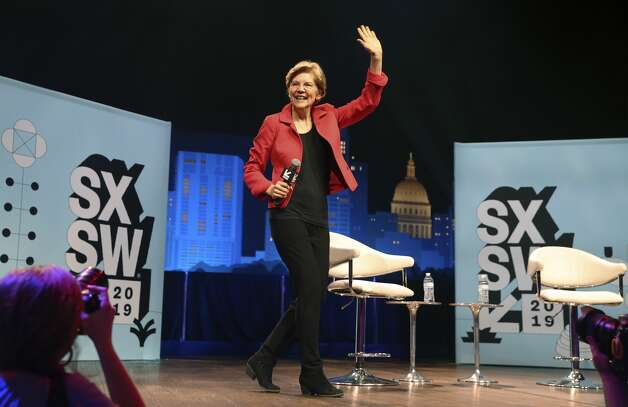 Presidential hopeful U.S. Senator Elizabeth Warren waves to the crowd as she participates in a two-day series of conversations at SXSW 2019 in collaboration with The Texas Tribune at ACL Live at the Moody Theater on Saturday, Mar. 9, 2019. Photo: Kin Man Hui/San Antonio Express-News