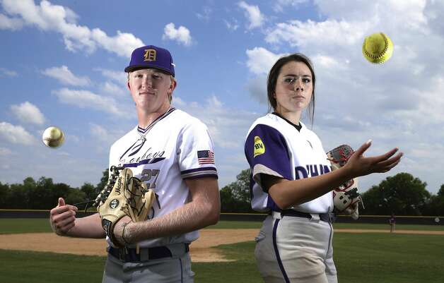 D'Hanis High School baseball pitcher Alex Magers and softball pitcher Marissa Santos have recently achieved a rare distinction for their respective sports. Last Friday, Senior Magers pitched a no-hitter against Bruni as freshman Santos pitched a perfect game against Medina. Both teams are currently playing toward reaching their respective state tournaments. Photo: Kin Man Hui/Staff Photographer