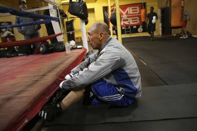 Former Boxing Champion John Michael Johnson works out at TMB Morones Boxing on Wednesday, Nov. 13, 2019 for an upcoming fight this weekend. Johnson, 51, a former three-time boxing champion will face 24-year-old Omar Castillo, Jr. of San Juan, Texas. Photo: Kin Man Hui/Staff Photographer