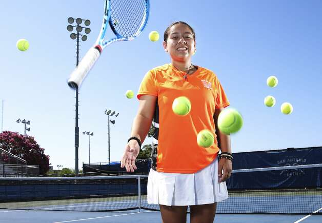 Burbank sophomore Valerie Navarro-Cavazos is the 2019 Express-News girls tennis player of the year and UIL Class 5A silver medalist in singles. She became the first tennis player at her school to advance to the UIL state tournament and the first SAISD player to medal at state since 1965. Photo: Kin Man Hui/Staff Photographer