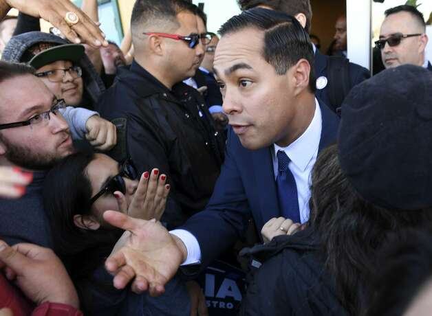 Julian Castro greets people after he announced that he is running for president of the United State in 2020 during a rally at Plaza Guadalupe on Saturday, Jan. 12, 2019. Photo: Billy Calzada/Staff Photographer