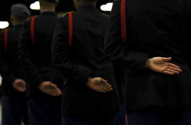 JROTC cadets from LEE High School stand ready during the JROTC 5th Brigade Drill Team Championships at the Henry B. Gonzalez Convention Center on Saturday, Jan. 26, 2019. Photo: Billy Calzada/Staff Photographer