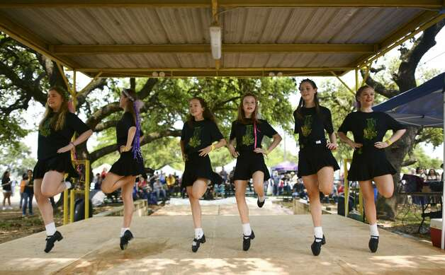 Members of the Inishfree School of Irish Dancing perform during the San Antonio Highland Games & Celtic Music Festival at the Helotes Festival Grounds on Saturday, April 6, 2019. Photo: Billy Calzada/Staff Photographer