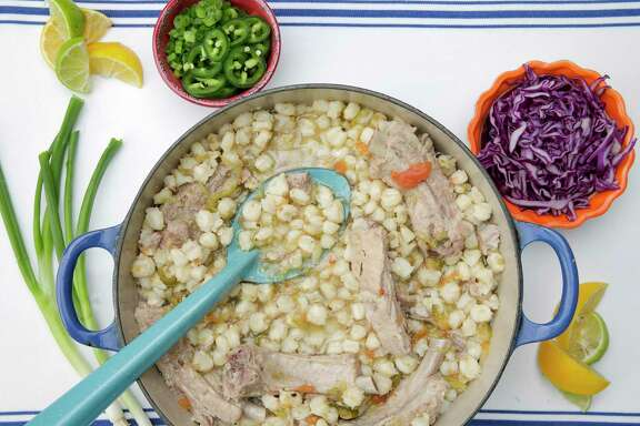 Chronicle food editor Greg Morago shares his recipe for his mother's pork rib posole flavored with roasted green chile.