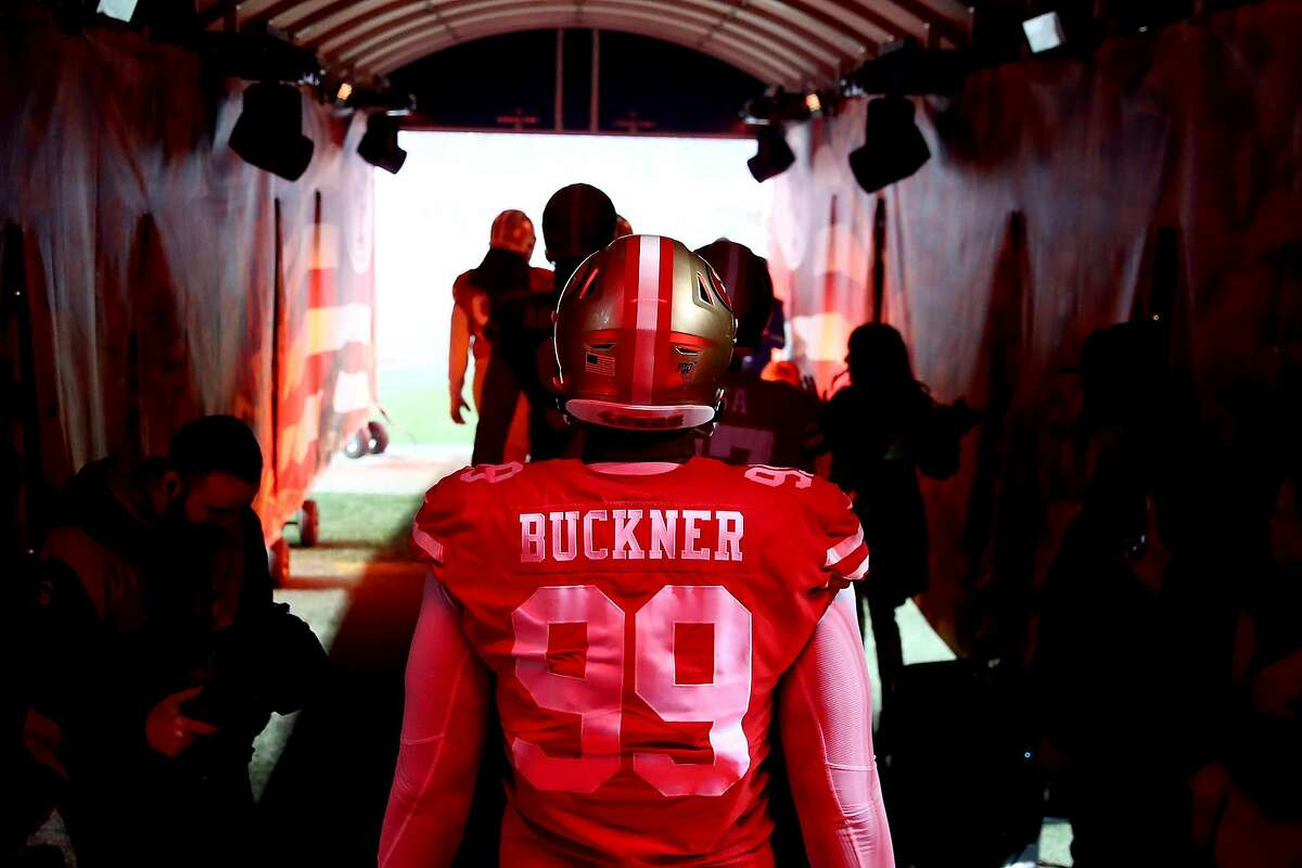 SANTA CLARA, CALIFORNIA - DECEMBER 21: Defensive tackle DeForest Buckner #99 of the San Francisco 49ers walks out the tunnel before the game against the Los Angeles Rams at Levi's Stadium on December 21, 2019 in Santa Clara, California. (Photo by Ezra Shaw/Getty Images)