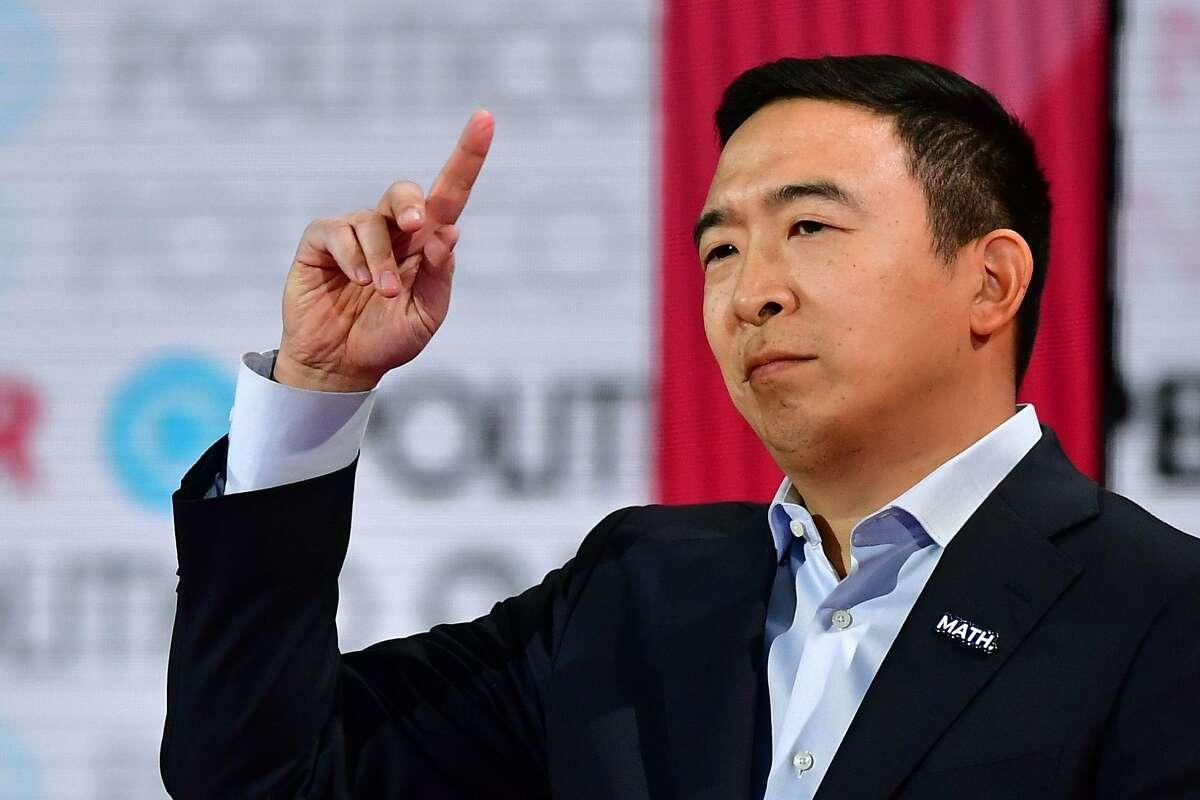 Democratic presidential hopeful entrepreneur Andrew Yang speaks during the sixth Democratic primary debate of the 2020 presidential campaign season co-hosted by PBS NewsHour & Politico at Loyola Marymount University in Los Angeles, California on December 19, 2019. (Photo by Frederic J. Brown / AFP) (Photo by FREDERIC J. BROWN/AFP via Getty Images)